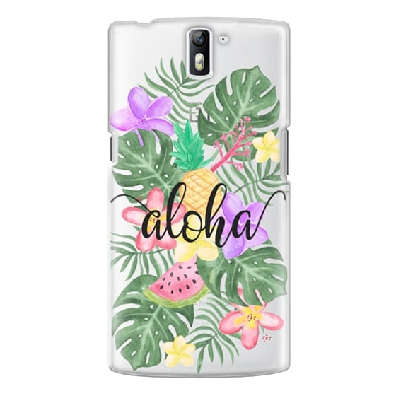 One Plus One Cases - Tropical Watercolor Floral Leaves Aloha