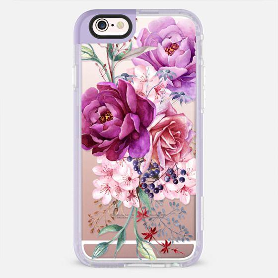 Purple Peony Watercolor Floral Bouquet