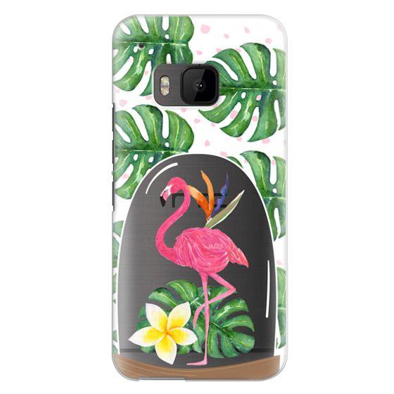Htc One M9 Cases - Watercolor Flamingo Tropical Snowglobe