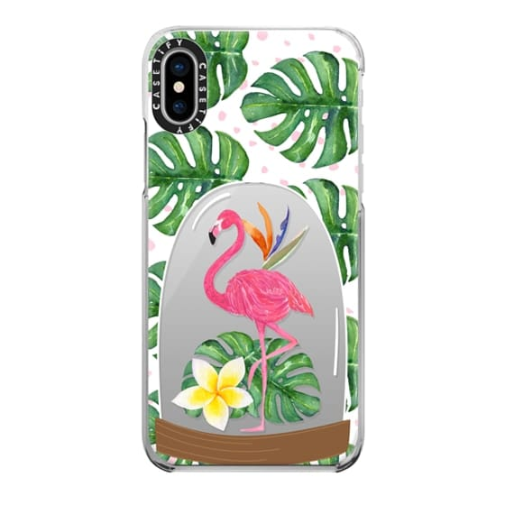 iPhone X Cases - Watercolor Flamingo Tropical Snowglobe