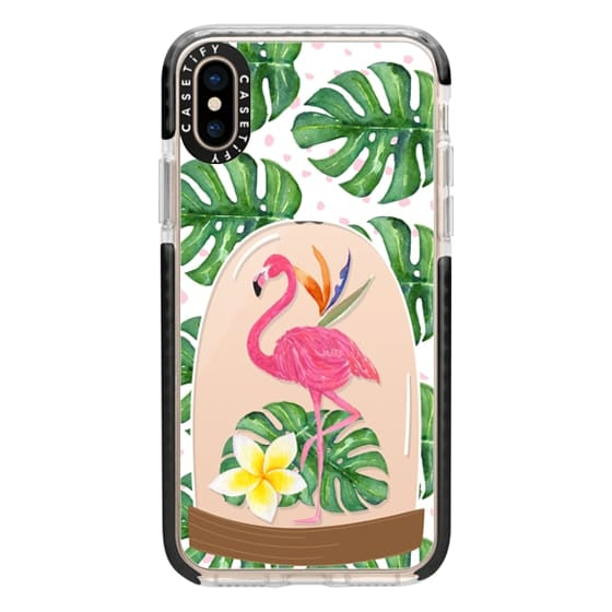iPhone XS Cases - Watercolor Flamingo Tropical Snowglobe