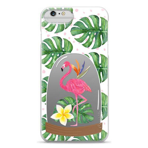 iPhone 6 Plus Cases - Watercolor Flamingo Tropical Snowglobe