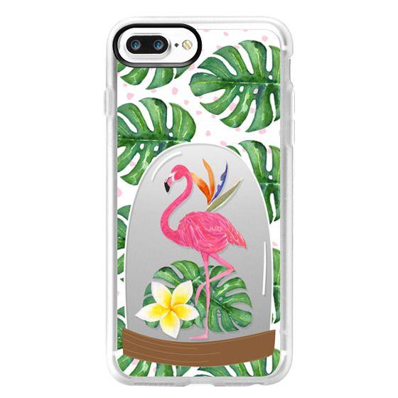 iPhone 7 Plus Cases - Watercolor Flamingo Tropical Snowglobe
