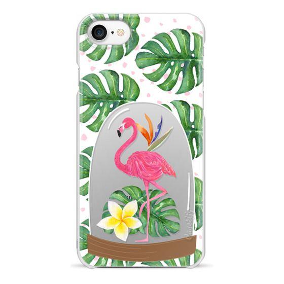 iPhone 7 Cases - Watercolor Flamingo Tropical Snowglobe