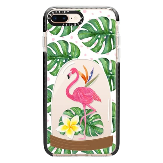 iPhone 8 Plus Cases - Watercolor Flamingo Tropical Snowglobe