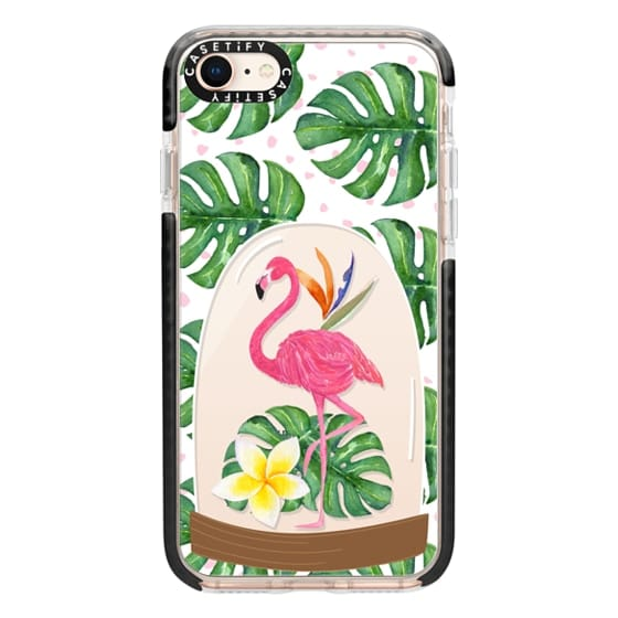 iPhone 8 Cases - Watercolor Flamingo Tropical Snowglobe