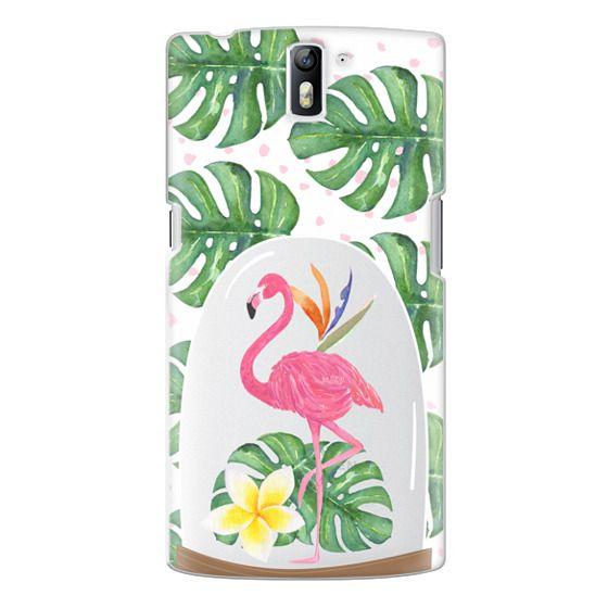 One Plus One Cases - Watercolor Flamingo Tropical Snowglobe