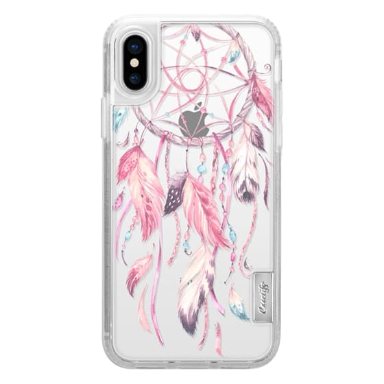 iPhone X Cases - Watercolor Pink Dreamcatcher Feather Dream Catcher