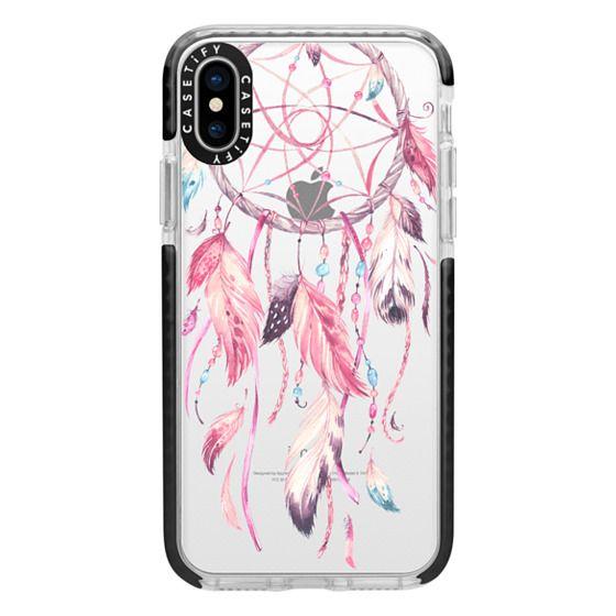 iPhone X Cases - Watercolor Pink Dreamcatcher Feather Dream Catcher