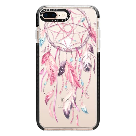 iPhone 8 Plus Cases - Watercolor Pink Dreamcatcher Feather Dream Catcher