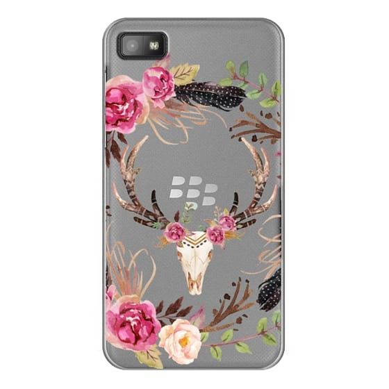 Blackberry Z10 Cases - Watercolour Floral Deer Skull - Transparent