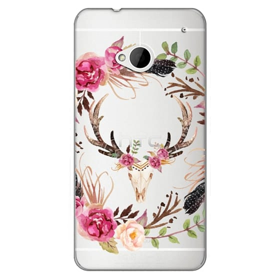 Htc One Cases - Watercolour Floral Deer Skull - Transparent