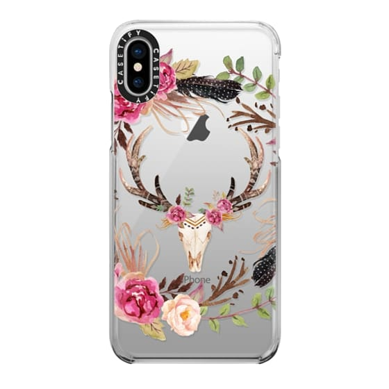 iPhone X Cases - Watercolour Floral Deer Skull - Transparent