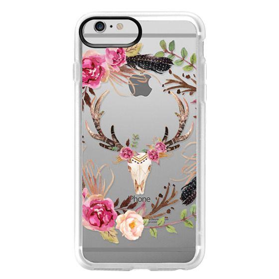iPhone 6 Plus Cases - Watercolour Floral Deer Skull - Transparent