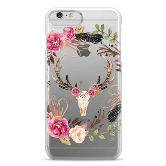 iPhone 6 Plus Cases - Watercolour Floral Deer Skull - Transparent