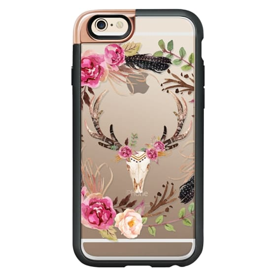 iPhone 6 Cases - Watercolour Floral Deer Skull - Transparent