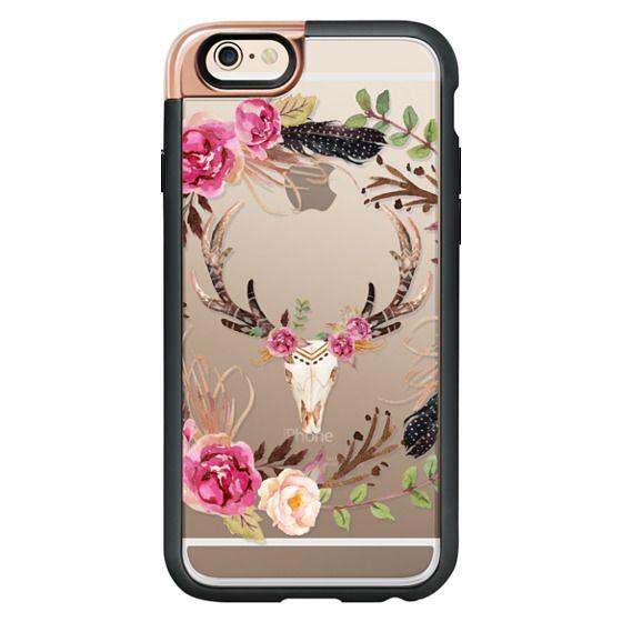 iPhone 4 Cases - Watercolour Floral Deer Skull - Transparent