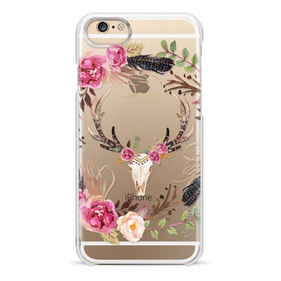 iPhone 6 Cases - Watercolour Floral Deer Skull - Transparent