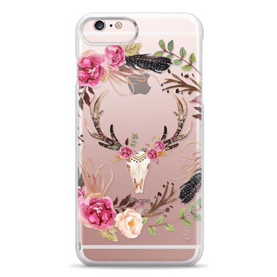 iPhone 6s Plus Cases - Watercolour Floral Deer Skull - Transparent