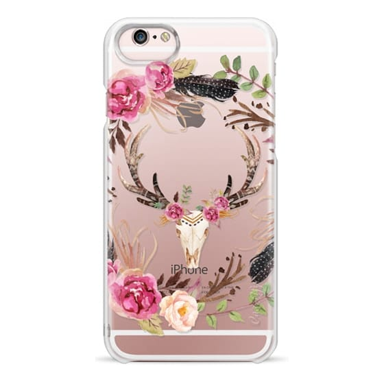 iPhone 6s Cases - Watercolour Floral Deer Skull - Transparent
