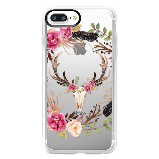 iPhone 7 Plus Cases - Watercolour Floral Deer Skull - Transparent