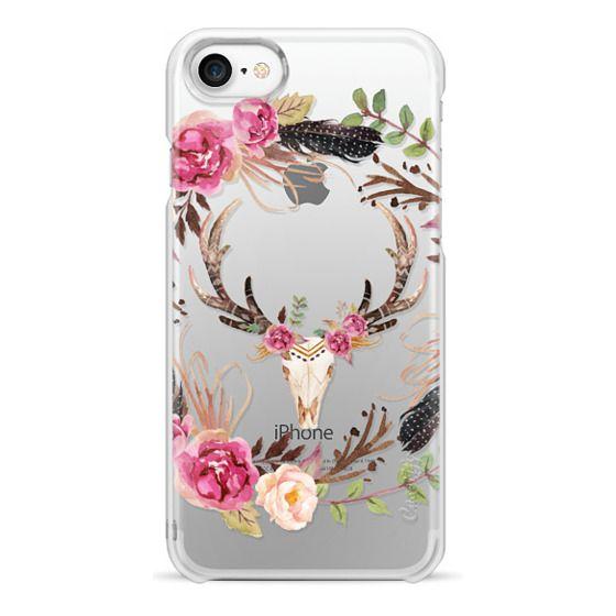 iPhone 7 Cases - Watercolour Floral Deer Skull - Transparent