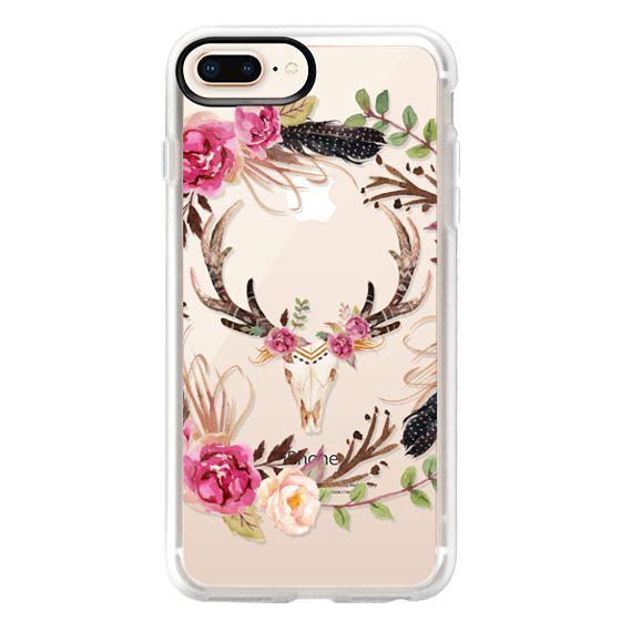 iPhone 8 Plus Cases - Watercolour Floral Deer Skull - Transparent