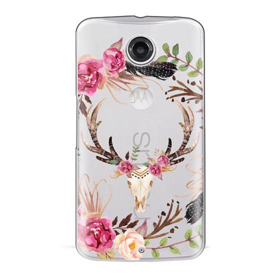 Nexus 6 Cases - Watercolour Floral Deer Skull - Transparent