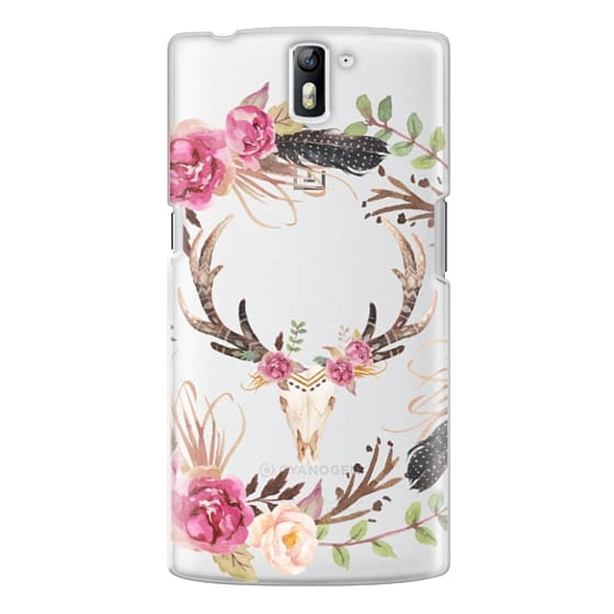 One Plus One Cases - Watercolour Floral Deer Skull - Transparent