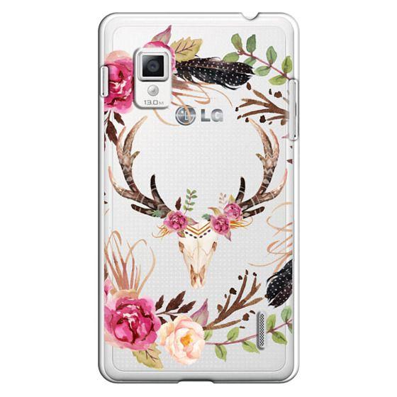 Optimus G Cases - Watercolour Floral Deer Skull - Transparent