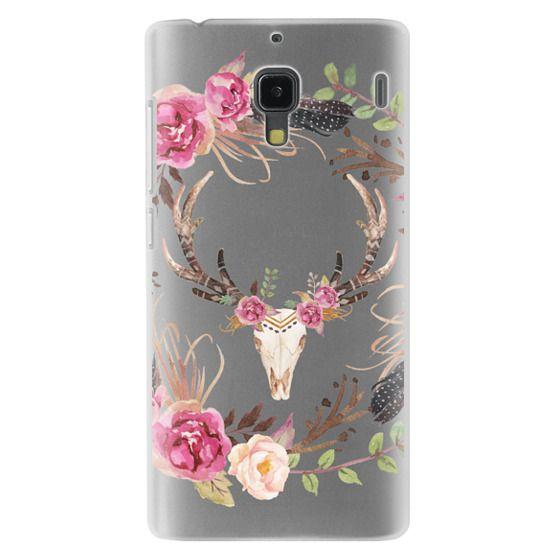 Redmi 1s Cases - Watercolour Floral Deer Skull - Transparent