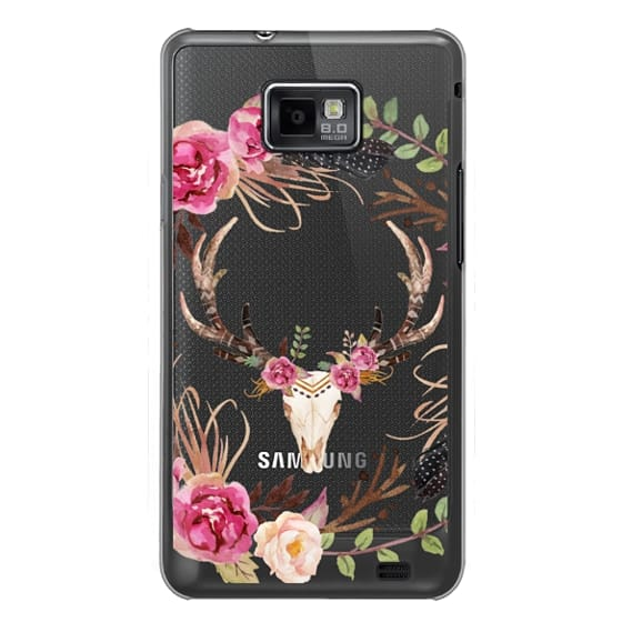 Samsung Galaxy S2 Cases - Watercolour Floral Deer Skull - Transparent