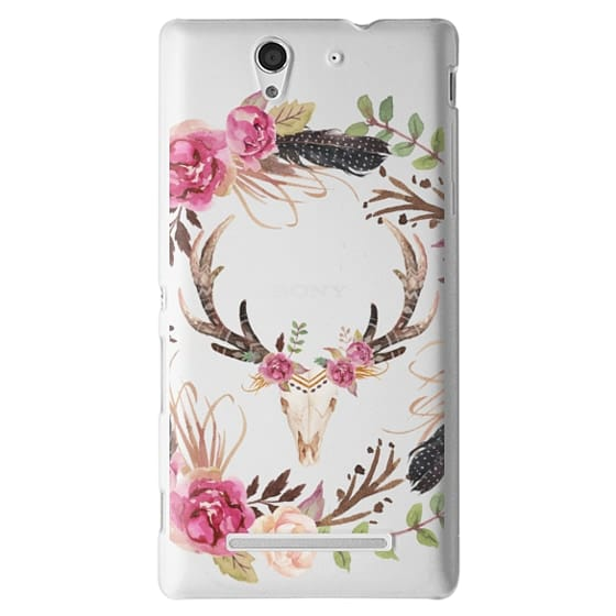 Sony C3 Cases - Watercolour Floral Deer Skull - Transparent