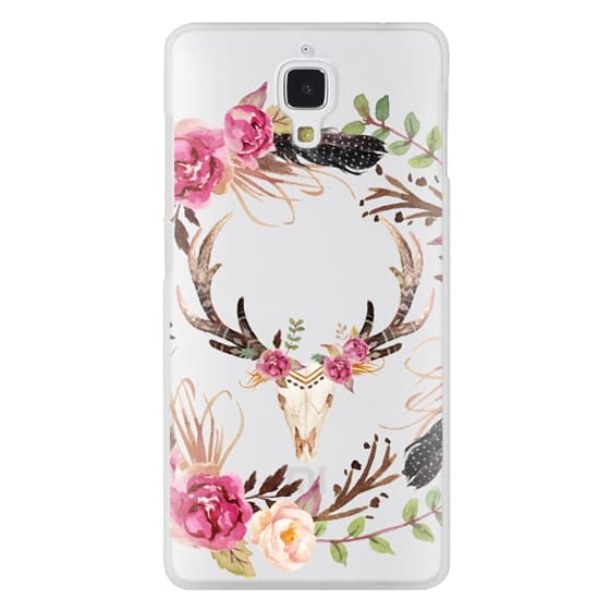 Xiaomi 4 Cases - Watercolour Floral Deer Skull - Transparent
