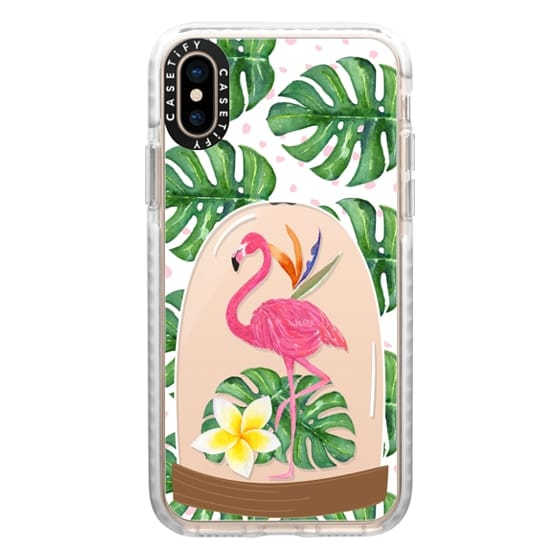 iPhone XS Cases - Watercolor Flamingo Tropical Snowglobe