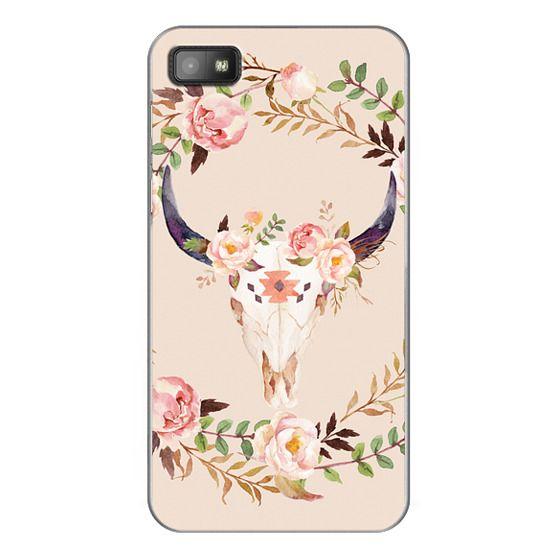 Blackberry Z10 Cases - Watercolour Floral Bull Skull