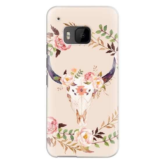 Htc One M9 Cases - Watercolour Floral Bull Skull