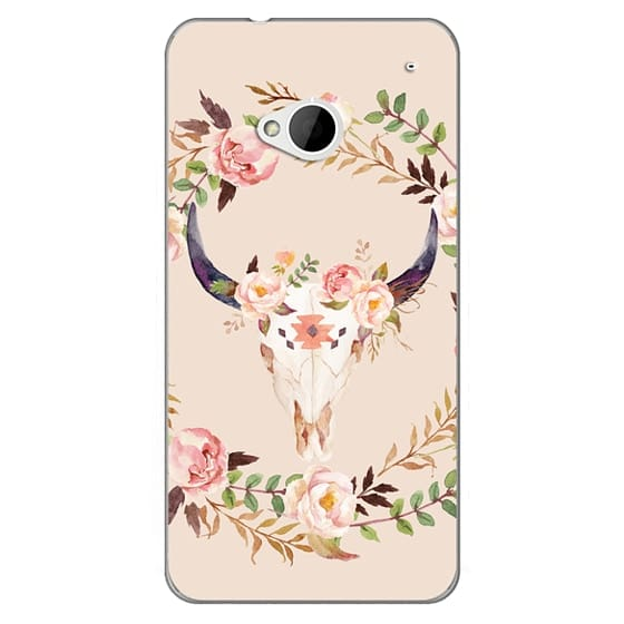 Htc One Cases - Watercolour Floral Bull Skull