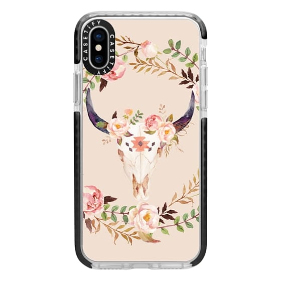 iPhone X Cases - Watercolour Floral Bull Skull