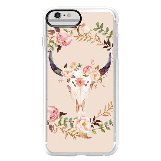 iPhone 6 Plus Cases - Watercolour Floral Bull Skull