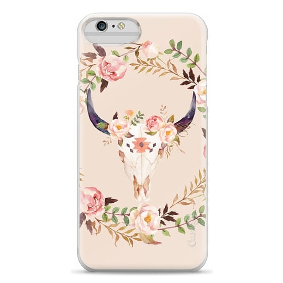 iPhone 6 Plus Cases - Watercolour Floral Bull Skull