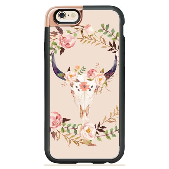 iPhone 4 Cases - Watercolour Floral Bull Skull