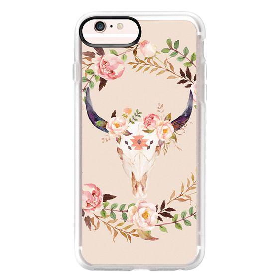iPhone 6s Plus Cases - Watercolour Floral Bull Skull