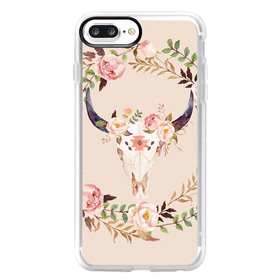 iPhone 7 Plus Cases - Watercolour Floral Bull Skull