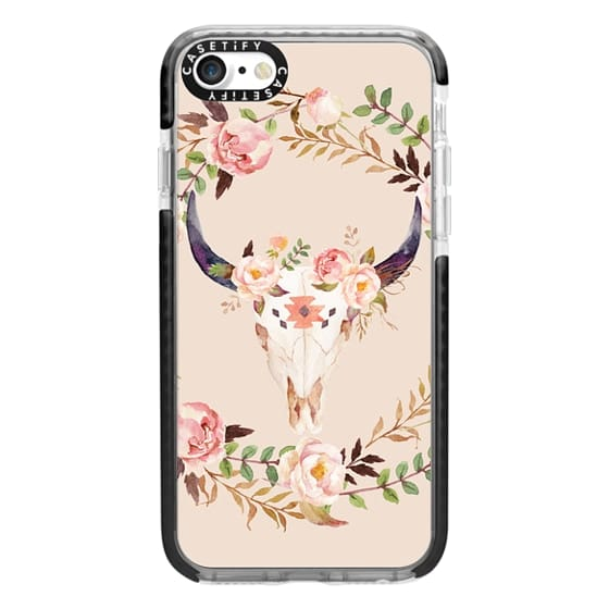 iPhone 7 Cases - Watercolour Floral Bull Skull
