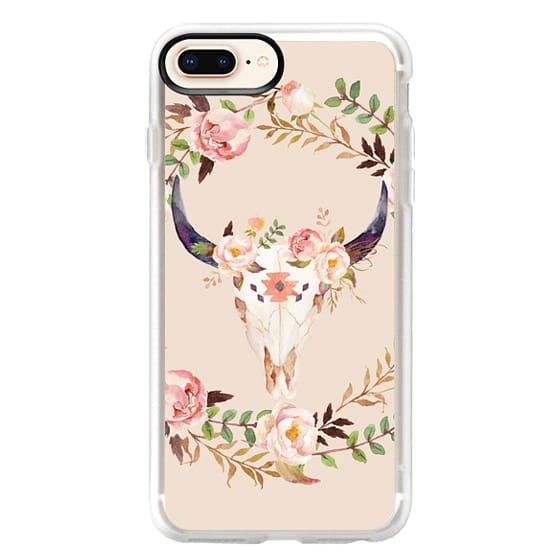 iPhone 8 Plus Cases - Watercolour Floral Bull Skull