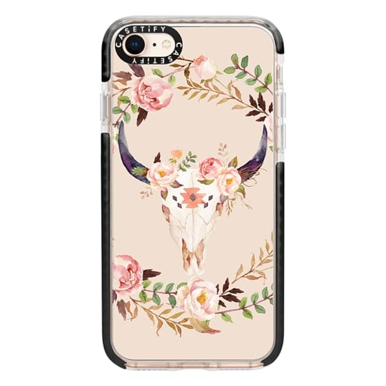 iPhone 8 Cases - Watercolour Floral Bull Skull
