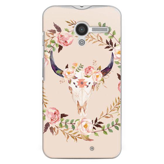 Moto X Cases - Watercolour Floral Bull Skull