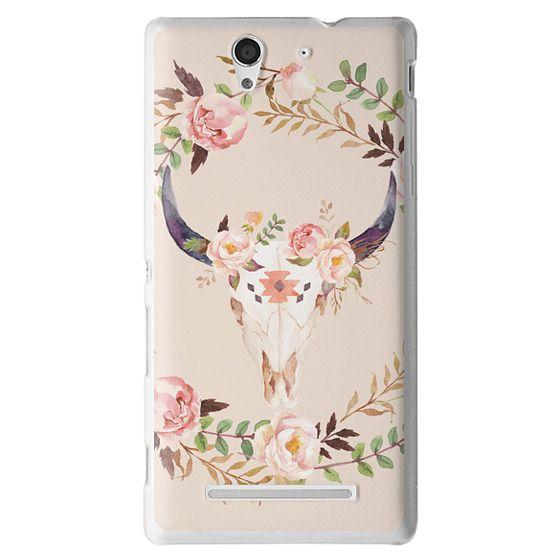 Sony C3 Cases - Watercolour Floral Bull Skull