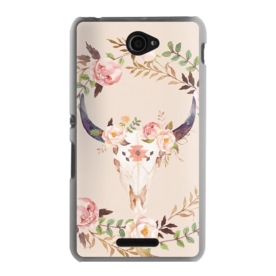 Sony E4 Cases - Watercolour Floral Bull Skull